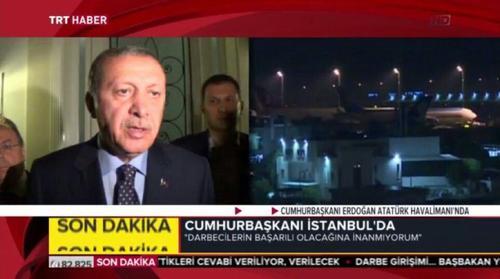 اردوغان پس از بازگشت به فرودگاه اتاتورک استانبول:   دست در دست ملت ترک به جنایتکاران درس خواهیم داد/ مردم به خیابان ها بیایید/ گروه کوچکی در ارتش به این اقدام کودتاگرانه دست زدند/ امشب برای روز است یعنی تا صبح باید در خیابان ها باشیم تا زمانی که برکودتاگران پیروز شویم/ مردم به فرودگاه ها و خیابان ها بیایند