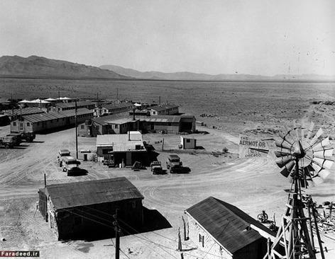 نمایی از منطقه عملیاتی نیومکزیکو جایی در نزدیکی محل انفجار که هدایت پروژه از آنجا صورت می گرفت.