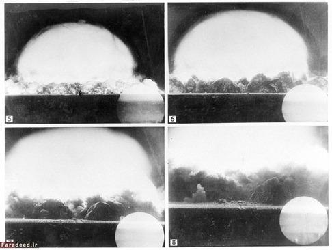عکسی که ارتش ایالات متحده امریکا از انفجار اتمی که از شش مایلی برداشته است.