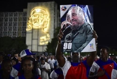 تجمع به یاد فیدل کاسترو در میدان انقلاب در شهر هاوانا پایتخت کوبا / خبرگزاری فرانسه