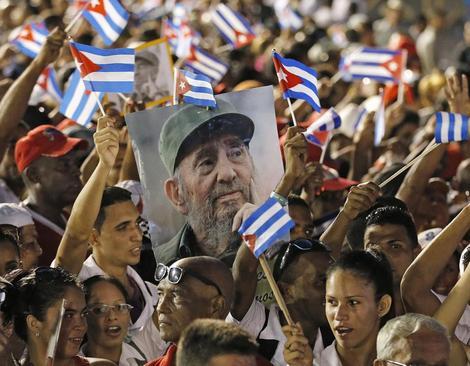 مراسم وداع با خاکستر جسد فیدل کاسترو در شهر سانتیاگو کوبا