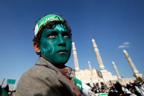 حامیان حوثی های یمن در مراسم گرامیداشت سالگرد ولادت پیامبر اسلام – صنعا