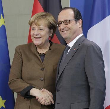 کنفرانس خبری مشترک صدر اعظم آلمان و رییس جمهوری فرانسه - برلین