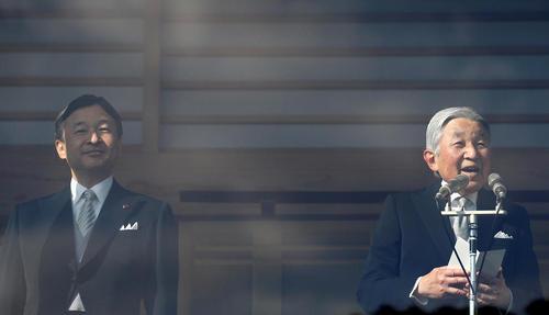 سخنرانی امپراتور ژاپن در کنار ولیعهد به مناسبت سال نو میلادی - قصر امپراتوری در توکیو