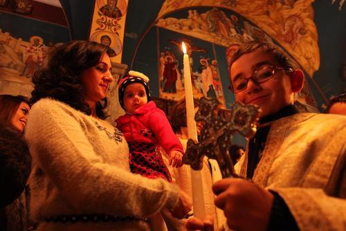 جشن میلاد مسیح در کلیسای مسیحیان ارتدوکس غزه