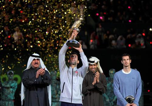 فینال رقابت های تنیس اپن قطر بین اندی موری بریتانیایی و نواک جاکوویچ صرب