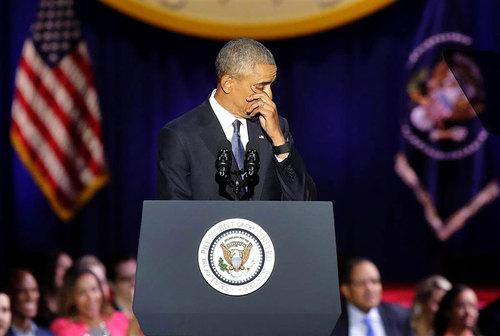 گریستن اوباما به هنگام سخنرانی