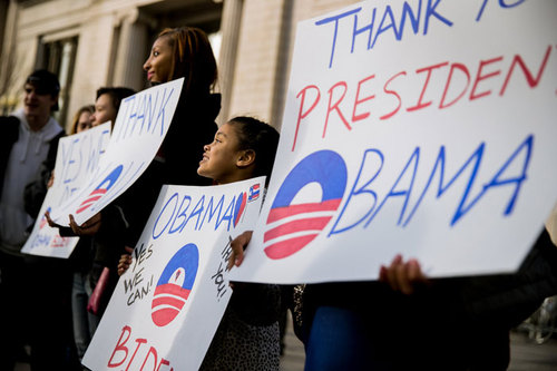 تجمع هواداران باراک اوباما در مقابل کاخ سفید برای خداحافظی