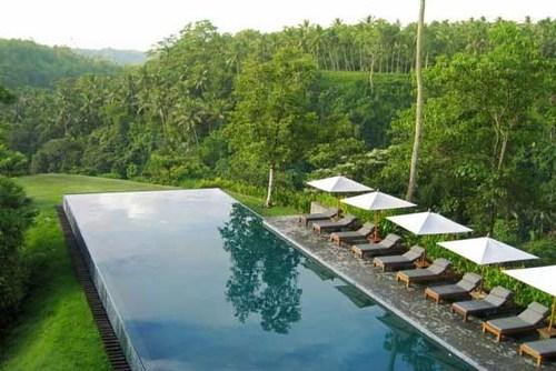 استخر هتل آلیلا اوبود در جزیره بالی اندونزی مشرف به شالیزارها و جنگل های سرسبز با چشم اندازی بی نظیر.