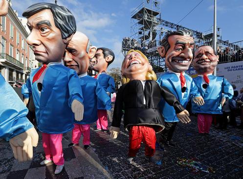 آدمک های نامزدهای انتخابات ریاست جمهوری فرانسه در کارناوال سالانه شهر نیس فرانسه