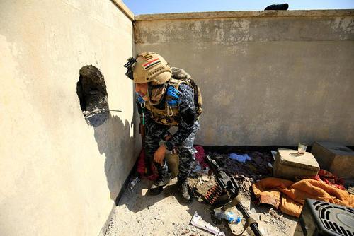 سنگر نیروی ارتش عراق در عملیات آزادسازی موصل