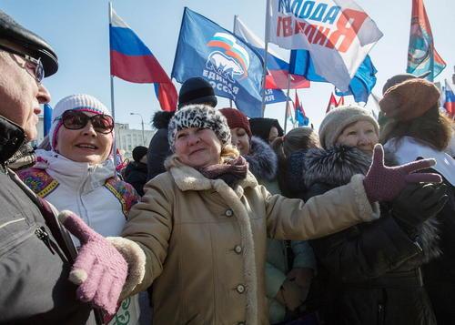 جشن سومین سالگرد الحاق شبه جزیره کریمه به روسیه – شهرهای اومسک و مسکو روسیه