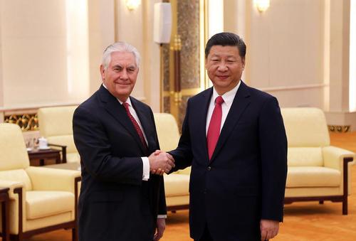 دیدار رکس تیلرسون وزیر امور خارجه آمریکا با شی جن پنگ رییس جمهور چین – پکن