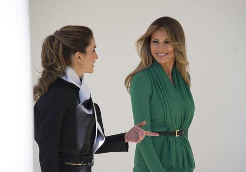 گپ و گفت ملانیا ترامپ و ملکه رانیا همسران رهبران آمریکا و اردن در کاخ سفید