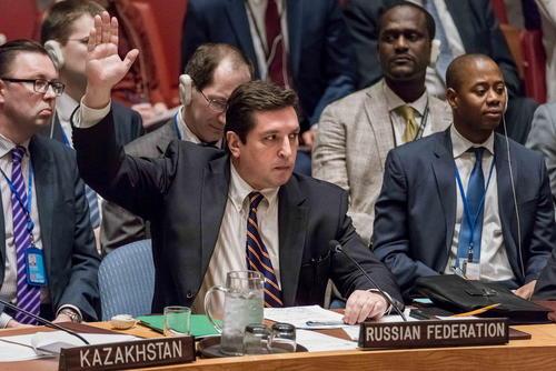 لحظه مخالفت – وتو – نماینده روسیه در سازمان ملل با قطعنامه پیشنهادی کشورهای غربی درباره بحران سوریه - نشست شورای امنیت