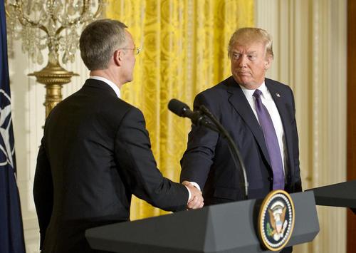 نشست خبری دونالد ترامپ با دبیر کل ناتو در کاخ سفید