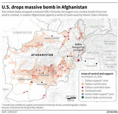 محل اصابت بزرگترین موشک غیراتمی آمریکا به تونل های داعش در افغانستان/ رویترز