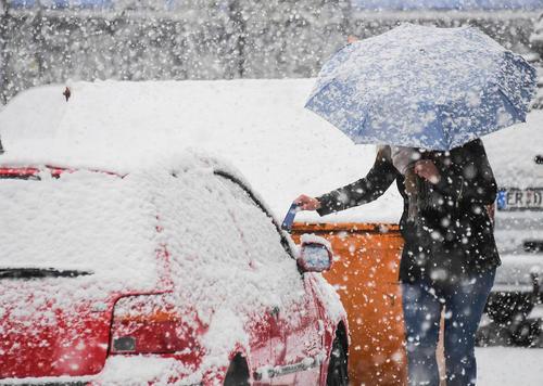 بارش برف در شهر مونیخ آلمان