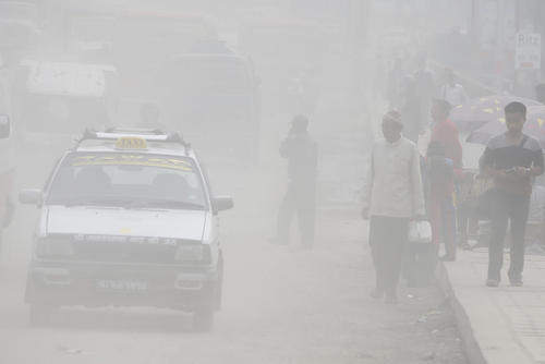 هوای به شدت آلوده و غبارآلود شهر کاتماندو نپال