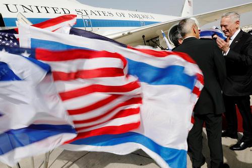 مراسم بدرقه رسمی جیمز ماتیس وزیر دفاع آمریکا از فرودگاه بین المللی بن گورین در شهر تل آویو
