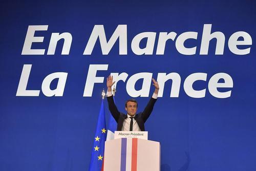 سخنرانی امانوئل مکرون نامزد پیروز در مرحله نخست انتخابات ریاست جمهوری فرانسه در جمع حامیانش – پاریس