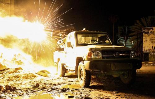 حملات ارتش ملی لیبی علیه داعش در منطقه سوق الحوت در نزدیکی شهر بنغازی