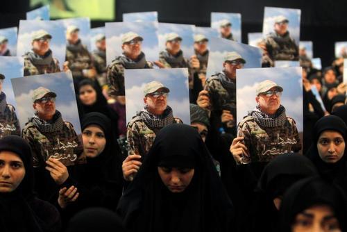 مراسم سالگرد مصطفا بدرالدین از فرماندهان ارشد حزب الله در بیروت