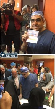 10:28- وزیر بهداشت با لباس جراحی در یکی از مراکز درمانی تهران رأی داد