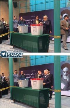 محمد باقر نوبخت، سخنگوی دولت یازدهم با حضور در حسینیه جماران رای خود را به صندوق انداخت.