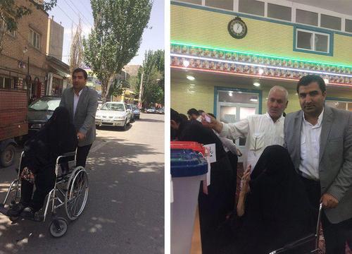 مادر بزرگ 90 ساله تبریزی در حال رای دادن/ عصر ایران