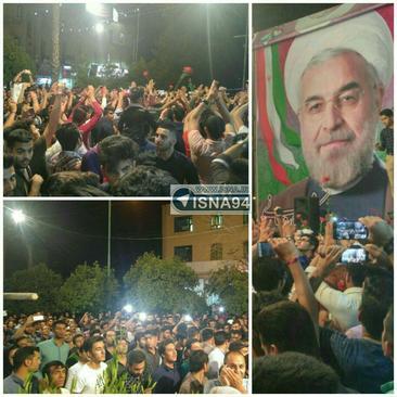 جشن پیروزی در ستاد روحانی در جهرم( هماکنون)، استان فارس