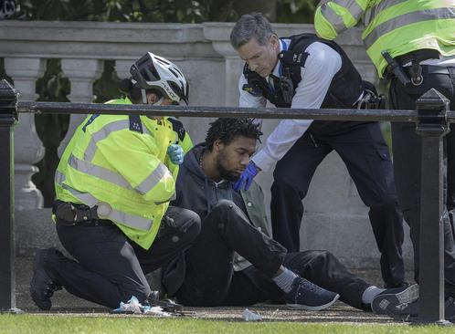 دستگیری یک مظنون تروریستی در مقابل کاخ باکینگهام در لندن