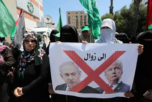 تظاهرات زنان فلسطینی حامی حماس در باریکه غزه علیه ترامپ