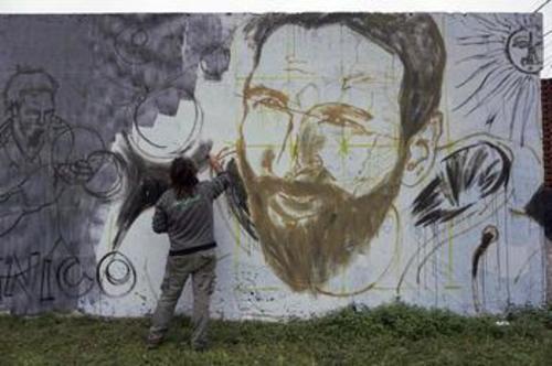 نقاشی دیواری در شهر روزاریو به مناسبت عروسی مسی