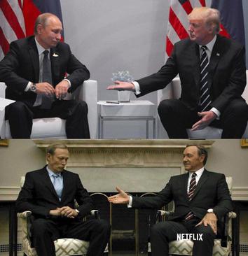 مشابهت صحنه دست دادن رهبران آمریکا و روسیه با صحنه ای مشابه از یک سریال پرمخاطب آمریکایی