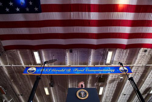 سخنرانی ترامپ در مراسم به آب انداختن ناو هواپیمابر یو اس اس جرالد فورد