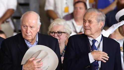 حضور دیک چنی و دونالد رامسفلد معاون رییس جمهور سابق و وزیر دفاع اسبق آمریکا در مراسم