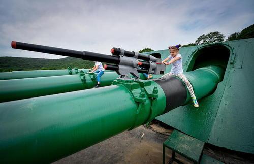 بازی کودکان در مجتمع یادبود وزارت دفاع روسیه در جزیره روسکی