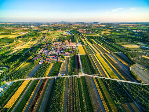 زمین های کشاورزی در اطراف روستایی در چین