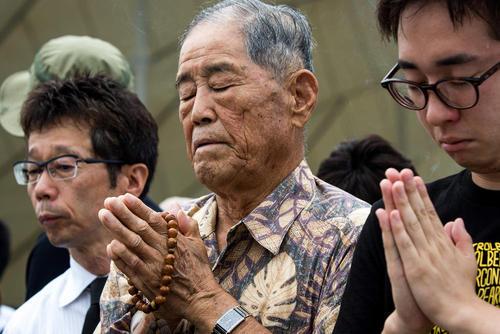 مراسم هفتادو دومین سالگرد حمله اتمی آمریکا به شهر ناگازاکی ژاپن در پارک صلح در همین شهر