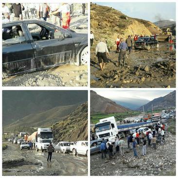 مردم و مسافران بسیاری در گل و لای پس از سیلاب در جاده آزادشهر گلستان گرفتار شدند
