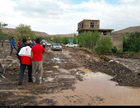 جاری شدن سیل در برخی از روستاهای خراسان شمالی