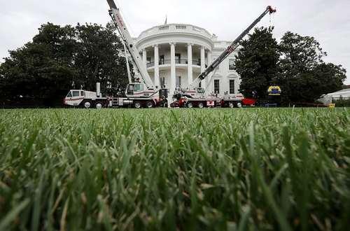 جرثقیل های انتقال کانتینر کالا در چمن جنوبی کاخ سفید