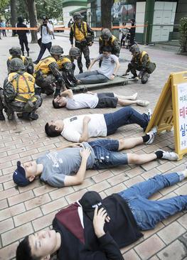 رزمایش ضد تروریستی در شهر سئول