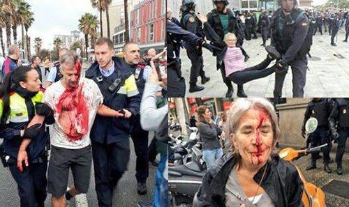 38 زخمی در حمله پلیس دولت مرکزی اسپانیا به شرکت کنندگان در همه پرسی استقلال کاتالونیا در شهر بارسلون