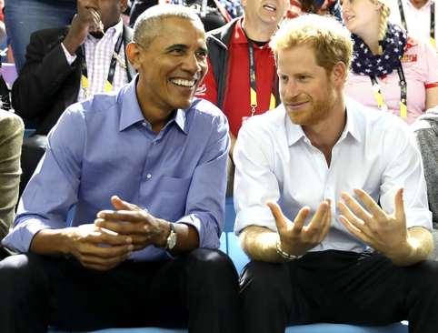 باراک اوباما و شاهزاده هری نوه ملکه بریتانیا در بازی های جهانی معلولان جنگی در تورنتو کانادا