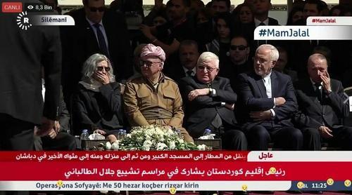 ظریف در سلیمانیه/ در کنار وزیر خارجه ایران، فواد معصوم، رئیسجمهور عراق و مسعود بارزانی، رئیس منطقه کردستان حضور دارند.