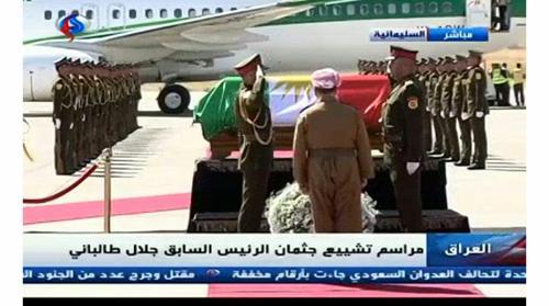 ادای احترام و اهدای تاج گل از سوی مسعود بارزانی در مقابل پیکر جلال طالبانی