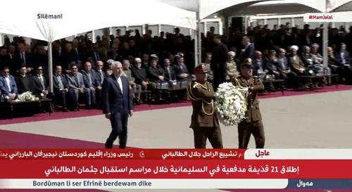 ظریف در مقابل پیکر جلال طالبانی ادای احترام و تاج گل اهدا کرد / فرودگاه سلیمانیه/ او بعد از رییس جمهور عراق و مسعودبارزانی سومین نفر بود