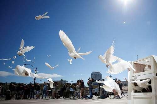پرواز دادن دهها پرنده در مراسم گرامیداشت یاد قربانیان تیراندازی هفته گذشته در شهر لاس وگاس آمریکا در نخستین هفته پس از این حادثه